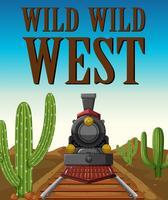 Wilde het westenaffiche met treinrit in woestijn