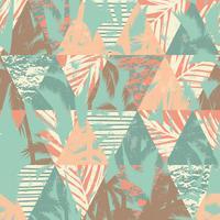Naadloos exotisch patroon met palmbladen op geometrische achtergrond vector