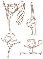 Doodle karakter voor gymnastische spelers