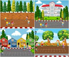 Kinderen spelen buiten Math Games