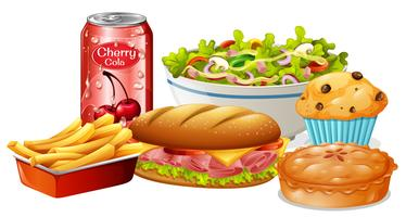 Een reeks voedsel op witte achtergrond