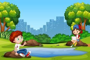 Jongen en meisje in het park vector