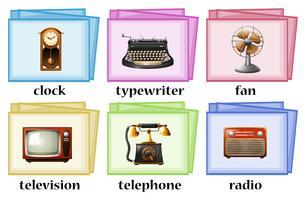 Vintage voorwerpen op flashcards vector