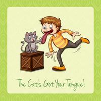 Idiomatische kat kreeg je tong vector