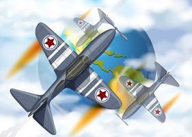 Vecht vliegtuig vliegt rond de aarde