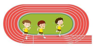Jongens trainen hardloopwedstrijd