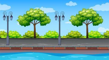 Naadloze achtergrond met bomen langs de weg