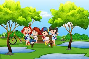 Jonge kinderen in de natuur vector
