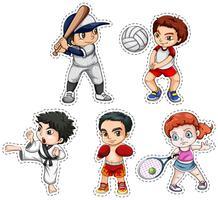 Stickerset van kinderen die veel sporten doen vector