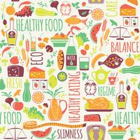 Vector naadloos patroon met illustratie van gezond voedsel.