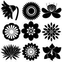 Bloemmotieven in zwarte kleuren vector