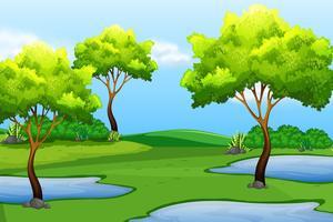 Een groen natuurlandschap vector