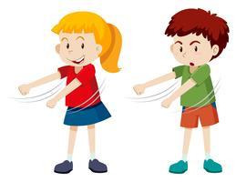 Jongen en meisje floss dansen