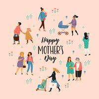 Gelukkige Moederdag. Vectorillustratie met vrouwen en kinderen.