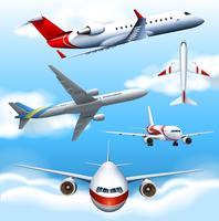 Veel vliegtuigen vliegen in de lucht vector
