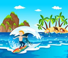 Summer Beach Island en c vector