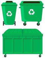 Groene vuilnisbakken in drie uitvoeringen vector