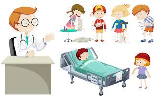 Vector van verschillende ziekten en artsen