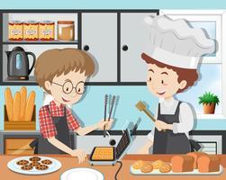Een kookles met chef-kok
