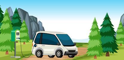 Elektrische auto lading in de natuur vector