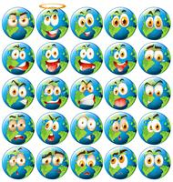 Aarde met gezichtsuitdrukking vector