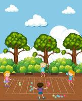 Kinderen doen wiskunde op speelplaats vector