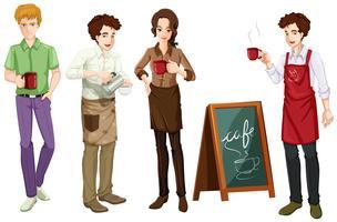 Mensen die in café werken