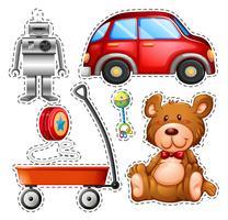 Sticker set van verschillende speelgoed