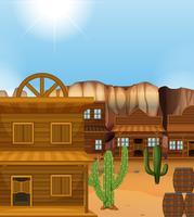 Scène met gebouwen in westerse stijl vector