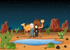 Woestijnscène met Arabische mensen en kamelen vector