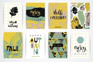Set van artistieke creatieve herfst kaarten. vector