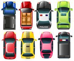 Topview van het verschillende type voertuigen
