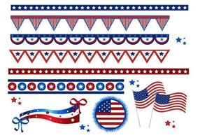 4 juli vlaggen en grenzen vector pakket