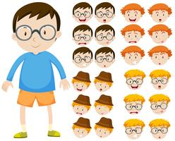 Jongen en verschillende gezichtsuitdrukkingen