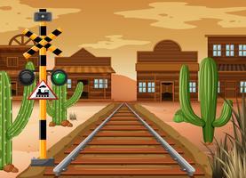 Scène met treinspoor in de westelijke stad