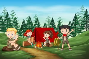 Internationale verkenner kamperen in het bos vector