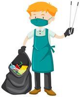 Schoner met vuilniszak en leren riem