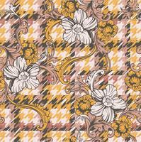 Eclectische weefsel geruite naadloze patroon met barokke ornament.