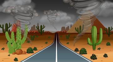 Tornado woestijn regen scène vector