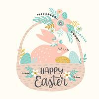 Gelukkig Pasen. Vectormalplaatje met Pasen-konijntje voor kaart, affiche, vlieger en andere gebruiker vector