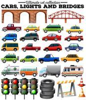 Verschillende soorten auto's en objecten op de weg vector