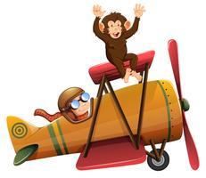 Een piloot die het vliegtuig bestuurt met een aap