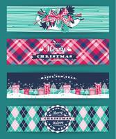 Kerstmis en Nieuwjaar Set. Geruite achtergronden. vector