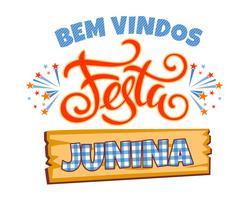 Latijns-Amerikaanse vakantie, het junifeest van Brazilië. Belettering ontwerp.