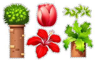 Stickerset van bloemen en struik vector