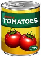 Blik van hele tomaten vector