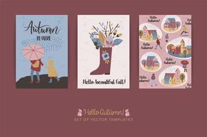 Set van artistieke creatieve herfst kaarten. Hand getrokken texturen en borstel belettering. vector