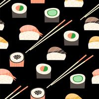 Naadloos patroon met verschillende soorten sushi. vector
