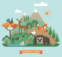 Vectorillustratie van het bosleven. vector