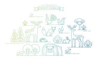 Vectorillustraties van bosdieren.